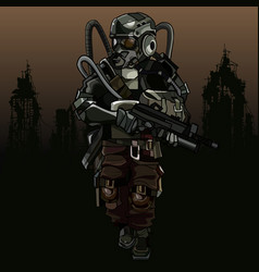 Cartoon soldier of the apocalypse in a protective vector