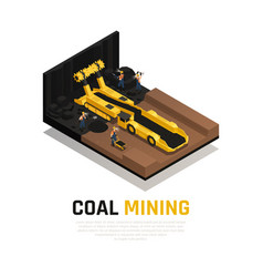 coal mining isometric composition vector image