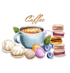 coffee cup with sweets watercolor macaroons and vector image