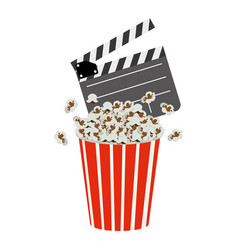 Color clapper board and pop corn icon vector
