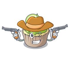 cowboy lemon cupcake character cartoon vector image