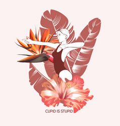 Cupid is stupid hand drawn vector