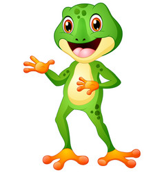 Cute frog cartoon posing vector
