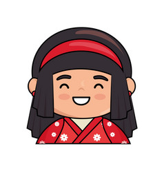 Cute japanese doll kawaii style vector