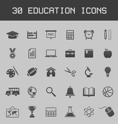 Dark education icon set vector image