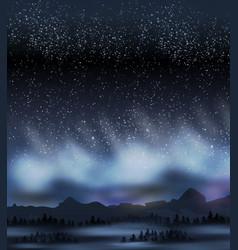 Dark sky with stars in winter night vector