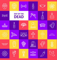 Day of the dead line icons vector