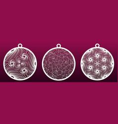 decorative christmas balls set templates vector image