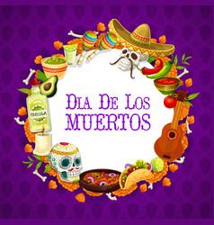 Dia de los muertos traditional mexican signs frame vector