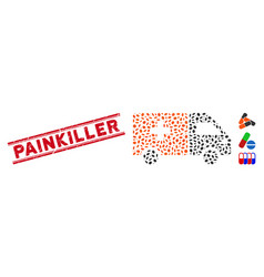 Distress painkiller line seal and mosaic drug vector