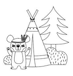 Dotted shape bear animal with camp next to bush vector