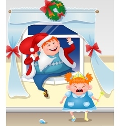 Drunk Dad Dressed As Santa Climbs Out The Window vector image