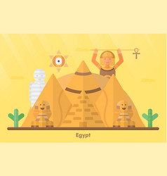 egypt landmarks for travelling with great sphinx vector image