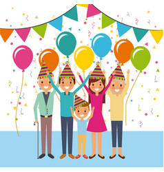 Family happy celebration birthday party ballons vector