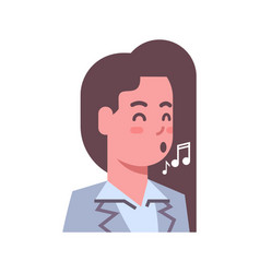 female singing emotion icon isolated avatar woman vector image