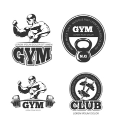 Fitness set of emblems labels badges vector