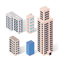 Five buildings icons vector
