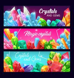gem crystals precious gemstones and jewels vector image