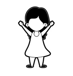Girl raising arms up icon image vector