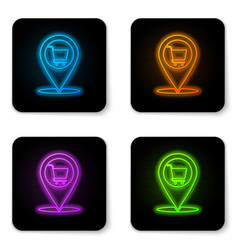 glowing neon map pointer with shopping cart icon vector image