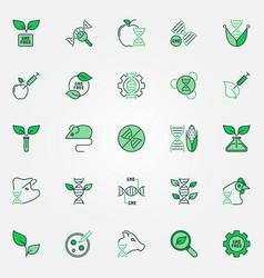 Gmo creative icons set genetic vector