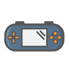 Handheld game console colorful line icon vector