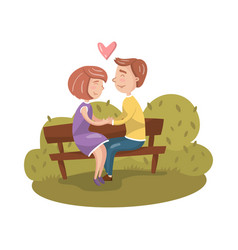happy couple in love sitting on bench in park vector image