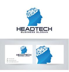 Head tech logo template vector