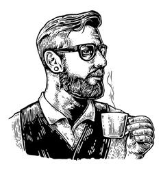 Hipster barista with the beard holding a cup of vector image