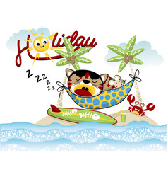 holiday in little island with funny pets cartoon vector image