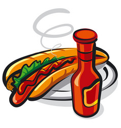 Hotdog on plate vector