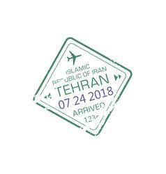 iran international airport stamp tehran arrival vector image