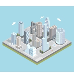 isometric urban city center map with vector image