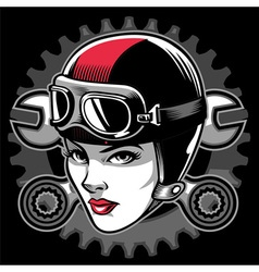 lady biker head vector image