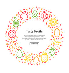 line fruits icons in circle shape vector image