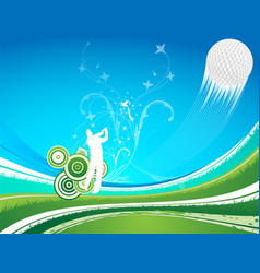 Man driving a golf ball on a blue a green vector