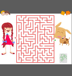 maze game with cartoon girl and her dog vector image