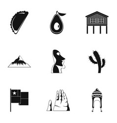 mexican place icons set simple style vector image