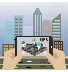 Mobile navigation GPS with map pointers vector