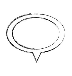 Monochrome sketch of oval speech with tail vector