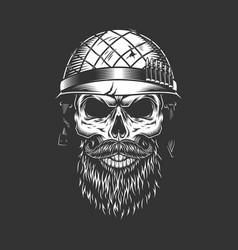 Monochrome vintage soldier skull vector