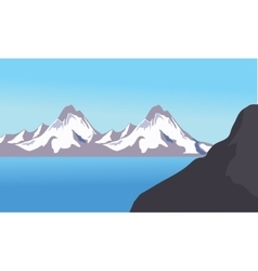 Mountain ice views in sea vector