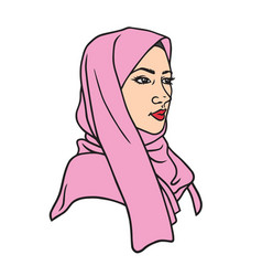 Muslim girl character design in hijab vector