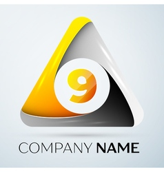 Number nine logo symbol in the colorful triangle vector image