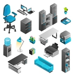 Office Interior Icons Set vector image