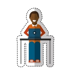 person using computer icon vector image