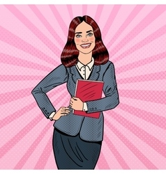 Pop Art Successful Business Woman Holding Folder vector image
