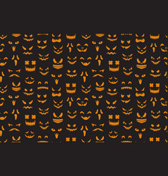 pumpkin faces seamless pattern halloween jack o vector image