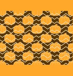 pumpkins seamless pattern autumn background vector image