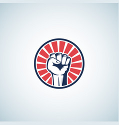 red and blue activist rebellion fist symbol vector image